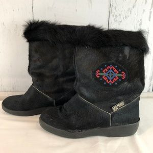 Garden Sport Black Goat Fur Embroidered Ski Boots